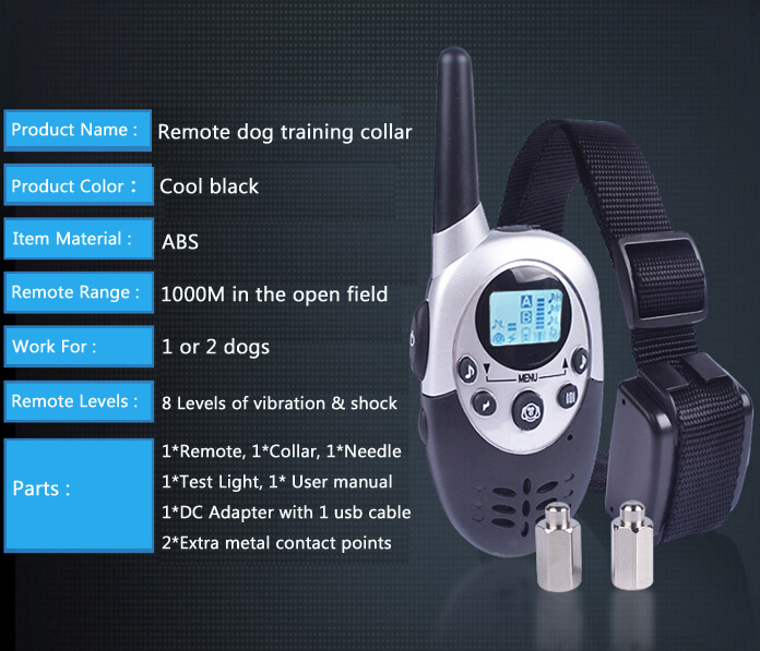 Popular 1000M LCD remote pet training collar
